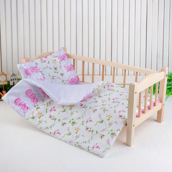 """Кукольное постельное""""Цветы на белом""""простынь,одеяло,46*36,подушка  27*17"""