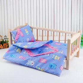 """Кукольное постельное""""Зверюшки на голубом"""" простынь,одеяло,46*36,подушка  27*17"""