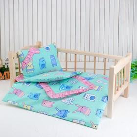 """Кукольное постельное""""Зверюшки на зеленом"""" простынь,одеяло,46*36,подушка 27*17"""