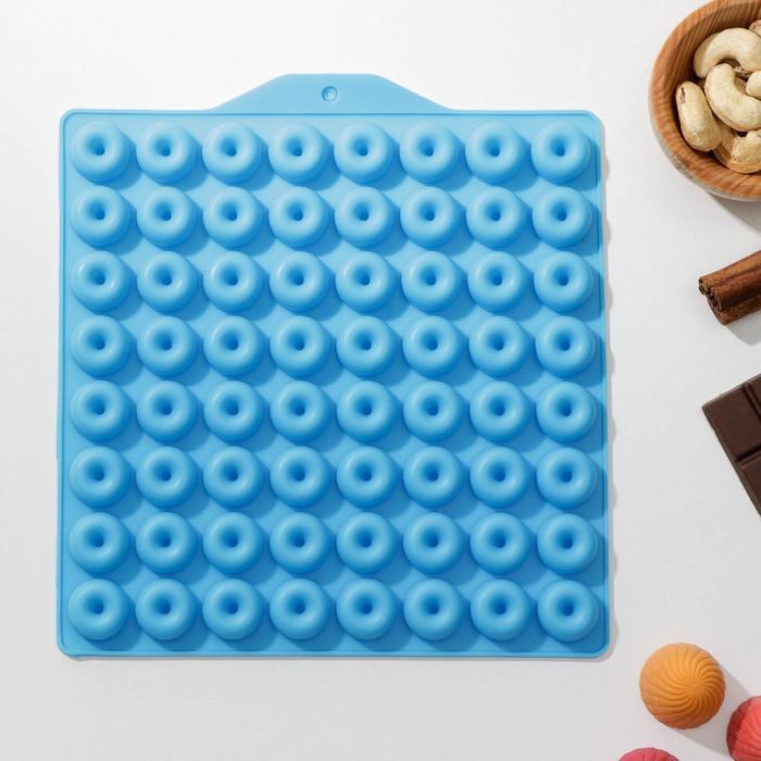 Форма для мармелада 21,5×20 см «Пончики», 64 ячейки (d=2 см), цвет МИКС