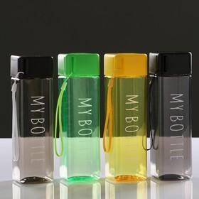 Бутылка для воды 450 мл, прямоугольная, 5.5х20 см, микс Ош
