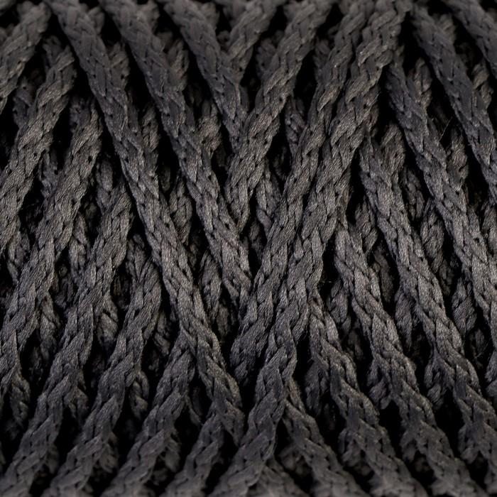 """Шнур для вязания """"Классик"""" без сердечника 100% полиэфир ширина 4мм 100м (т.-серый)"""