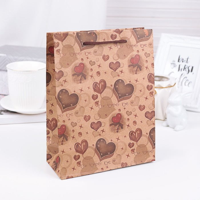 "Пакет крафт ""Шоколадные сердечки"", 19 х 8 х 24 см"