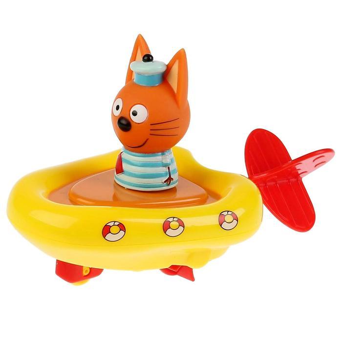 Игрушка для купания «Три кота, Лодка+Коржик», высота 6 см, блистер, в коробке