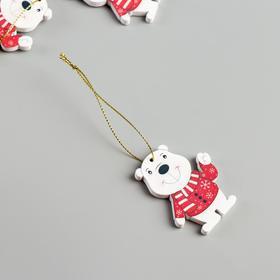 """Набор декора для творчества дерево """"Белый мишка в свитере"""" набор 4 шт 5,9х4,5 см"""