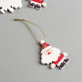 """Набор декора для творчества дерево """"Дедушка Мороз"""" набор 4 шт 5,7х4,2х0,5 см"""