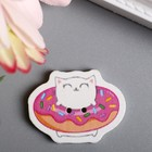 "Набор пуговиц для творчества дерево ""Котик в пончике"" набор 15 шт 2,2х3 см - фото 414201"