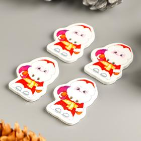 """A set of buttons for creative wood """"Santa with bag"""" set 15 PCs 3,3x2,6 cm"""