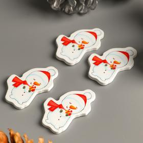 """A set of buttons for creativity tree """"Snowman with gift"""" set 15 PCs 3,5x2,5 cm"""