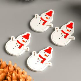 """A set of buttons for creativity tree """"Snowman in hat and scarf"""" set 15 PCs 3,4x2,5 cm"""