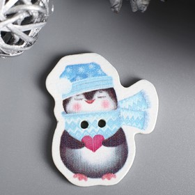 """A set of buttons for tree of creativity """"Penguin with heart"""" set 15 PCs 3,3x2,8 cm"""