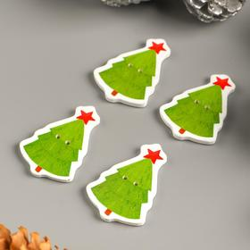 """A set of buttons for creativity tree """"Christmas Tree with a red star"""" set 15 PCs 3,4x2,4 cm"""