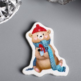 """A set of buttons for creativity tree """"Bear in a long scarf"""" set 15 PCs 3,4x2,6 cm"""