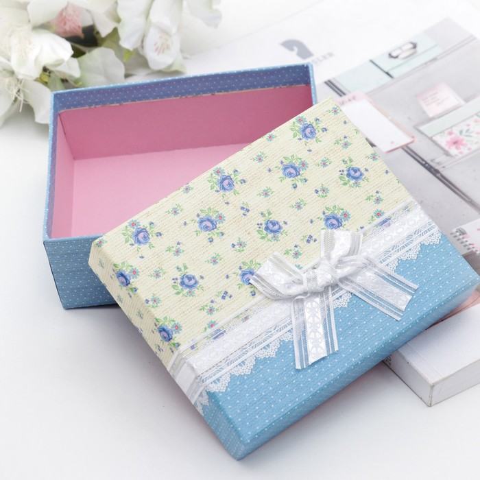 "Коробка подарочная ""Нежность"", цвет голубой, 14,5 х 12 х 5 см"