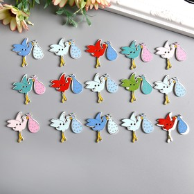 """A set of buttons for creative wood """"Stork"""" baby set 15 PCs 3,4x3,5 cm"""