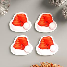 """Декор для творчества дерево """"Новогодний колпак"""" набор 15 шт 3,3х2,9 см"""