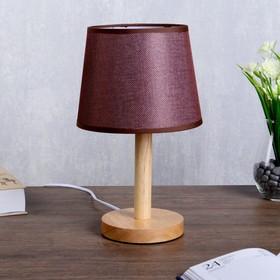 """Лампа настольная """"Эко"""" 1х40Вт Е27 светлое дерево-шоколадный 18х18х29,5 см."""