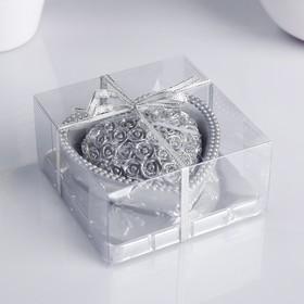"""Свеча """"Сердце"""" 9х4,5см, серебро"""