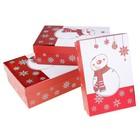 набор коробок 3в1 прямоугольник НГ Снеговичок в шарфике