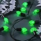 """Гирлянда """"Нить"""" улично-комнатная с насадками """"Грани"""", 5 м, LED(IP44)-40-220V, фиксинг, нить тёмная, свечение зелёное"""