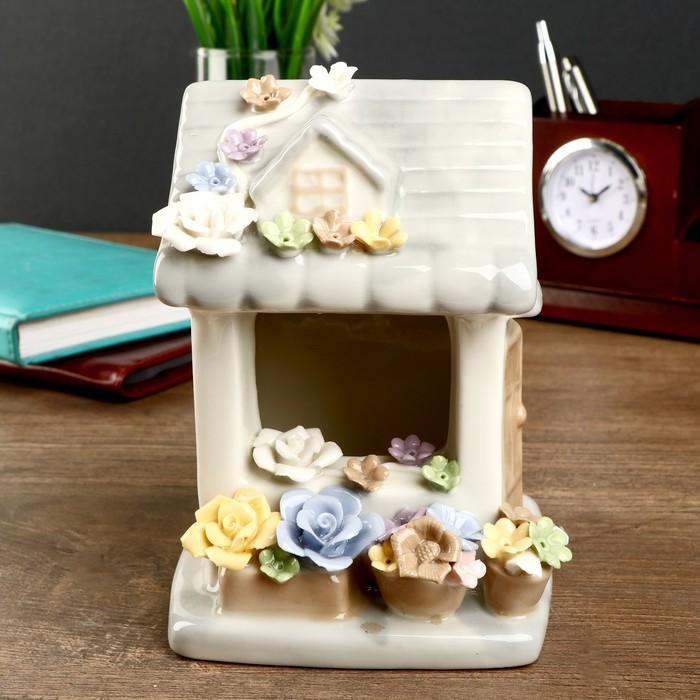 """Сувенир керамика световой """"Цветочный домик"""" 14,5х10,5х12 см - фото 798285024"""