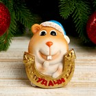 """Polyresin piggy """"Chubby hamster in Christmas hat with a horseshoe - good Luck"""" 8,1x6,4x7,2 cm"""
