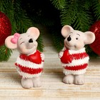 "Ceramic souvenir ""mouse in a striped sweater with a heart"" MIX 8x3,8x5,5 cm"