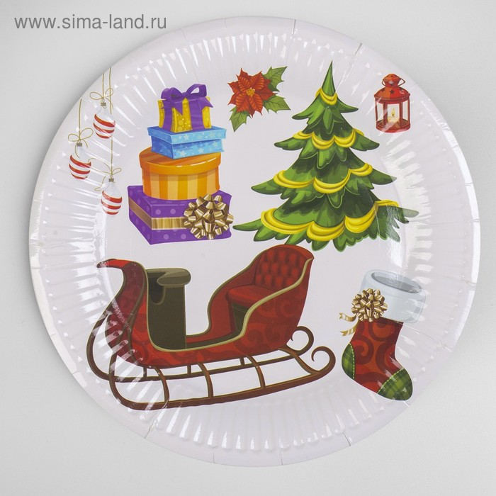 Paper plate New Year set of 6 PCs