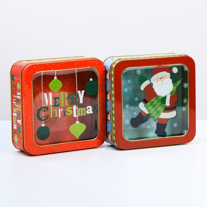 Коробка подарочная жестяная «С Новым годом!», 15 × 15 × 6 см