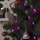 """Гирлянда """"Нить"""" улично-комнатная с насадками """"Конус"""", 5 м, LED(IP44)-40-220V, фиксинг, нить тёмная, свечение розовое"""