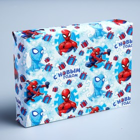 Бумага упаковочная глянцевая «С Новым Годом!», Человек-паук, 70 х 100 см