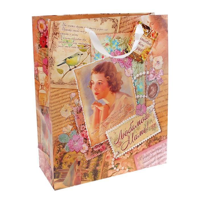 Пакет ламинированный с блёстками «Любимой маме», ML 23 × 27 × 8 см