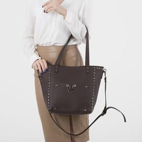 Сумка женская, отдел на молнии, 2 наружных кармана, длинный ремень, цвет коричневый - фото 50750