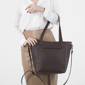Сумка женская, отдел на молнии, 2 наружных кармана, длинный ремень, цвет коричневый - фото 50752