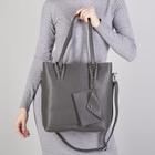 Сумка женская, отдел на молнии, наружный карман, с кошельком, длинный ремень, цвет серый