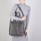 Сумка женская, отдел на молнии, наружный карман, с кошельком, длинный ремень, цвет серый - фото 50414