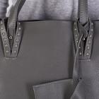 Сумка женская, отдел на молнии, наружный карман, с кошельком, длинный ремень, цвет серый - фото 50415