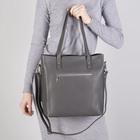 Сумка женская, отдел на молнии, наружный карман, с кошельком, длинный ремень, цвет серый - фото 50416