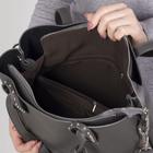 Сумка женская, отдел на молнии, наружный карман, с кошельком, длинный ремень, цвет серый - фото 50417