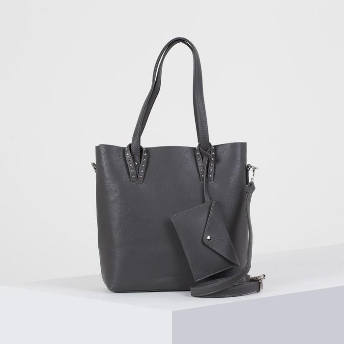 Сумка женская, отдел на молнии, наружный карман, с кошельком, длинный ремень, цвет серый - фото 50412