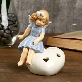 """Сувенир керамика световой """"Девочка-ангел в голубом платье на сердце"""" 12,3х8х9,5 см"""