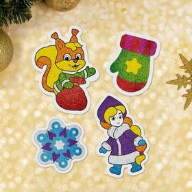 "Новогодняя фреска на магните ""Снегурочка и белка"""