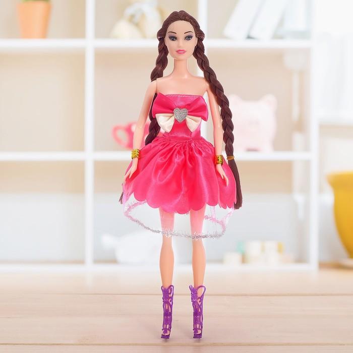 Кукла модель «Лера» в платье, с косой, МИКС