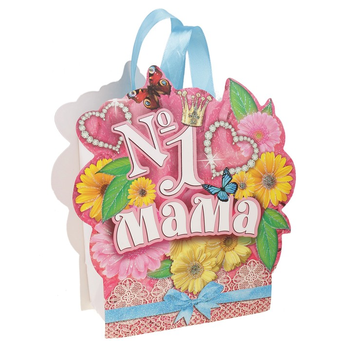 Пакет открытка с блёстками «Мама №1»