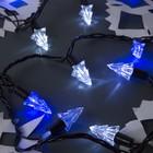 """Гирлянда """"Нить"""" улично-комнатная с насадками """"Ель малая"""", 5 м, LED(IP44)-40-220V, мигает, нить тёмная, свечение бело-синее"""