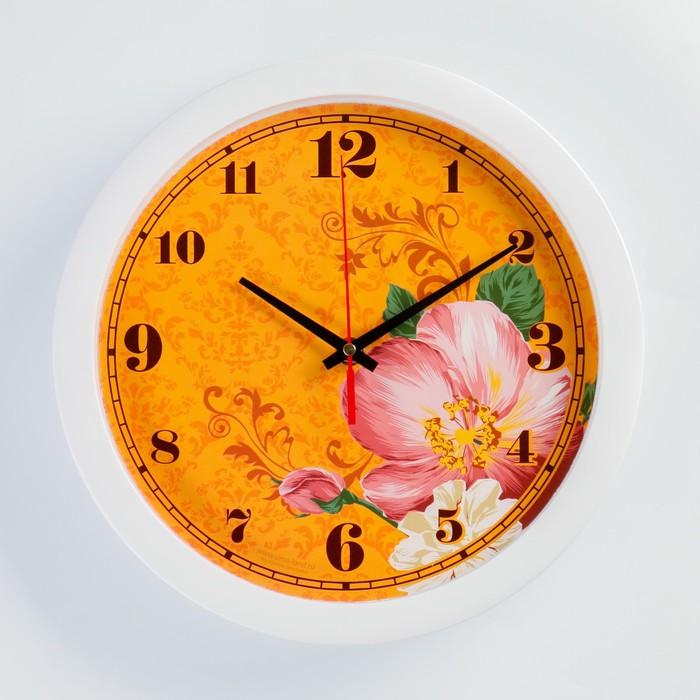 """Часы настенные, серия: Цветы, """"Цветки"""", белый  обод, 28х28 см"""