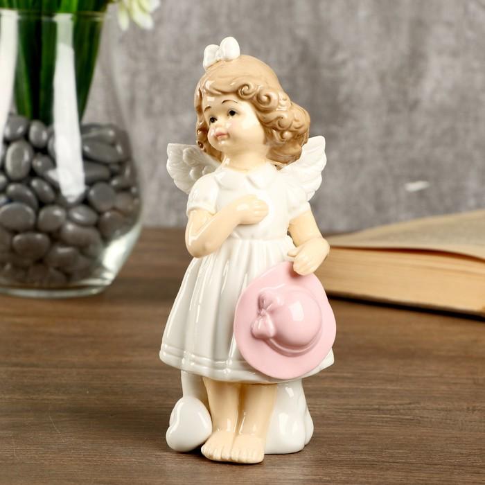 """Сувенир керамика """"Девочка-ангел в белом платье с розовой шляпкой"""" 14,3х6,3х6,5 см - фото 798285980"""