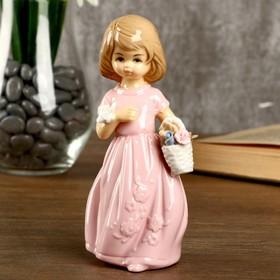 """Сувенир керамика """"Девочка в нежно-розовом платье с бабочкой и корзиной цветов"""" 14,5х5,8х7см"""