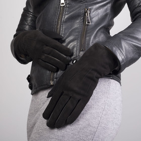 Перчатки женские, размер 7, подклад - искусственный мех, цвет чёрный