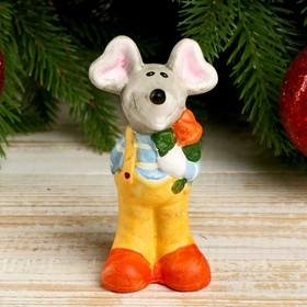 """Souvenir ceramic """"Festive mouse with a rose"""" 10. 2x4. 5x3. 7 cm"""